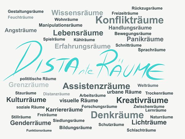 """Grafik mit dem Veranstaltungstitel """"Distante Räume"""""""